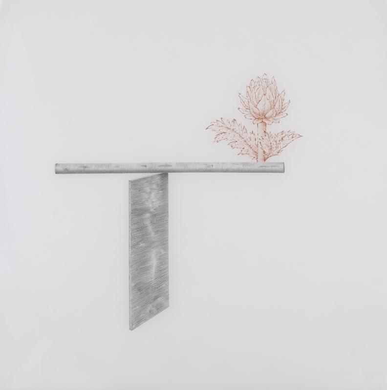 Richard Serra , 2010, pencil and sanguine on paper, 41 x 41 inches/ 104 x 104 cm