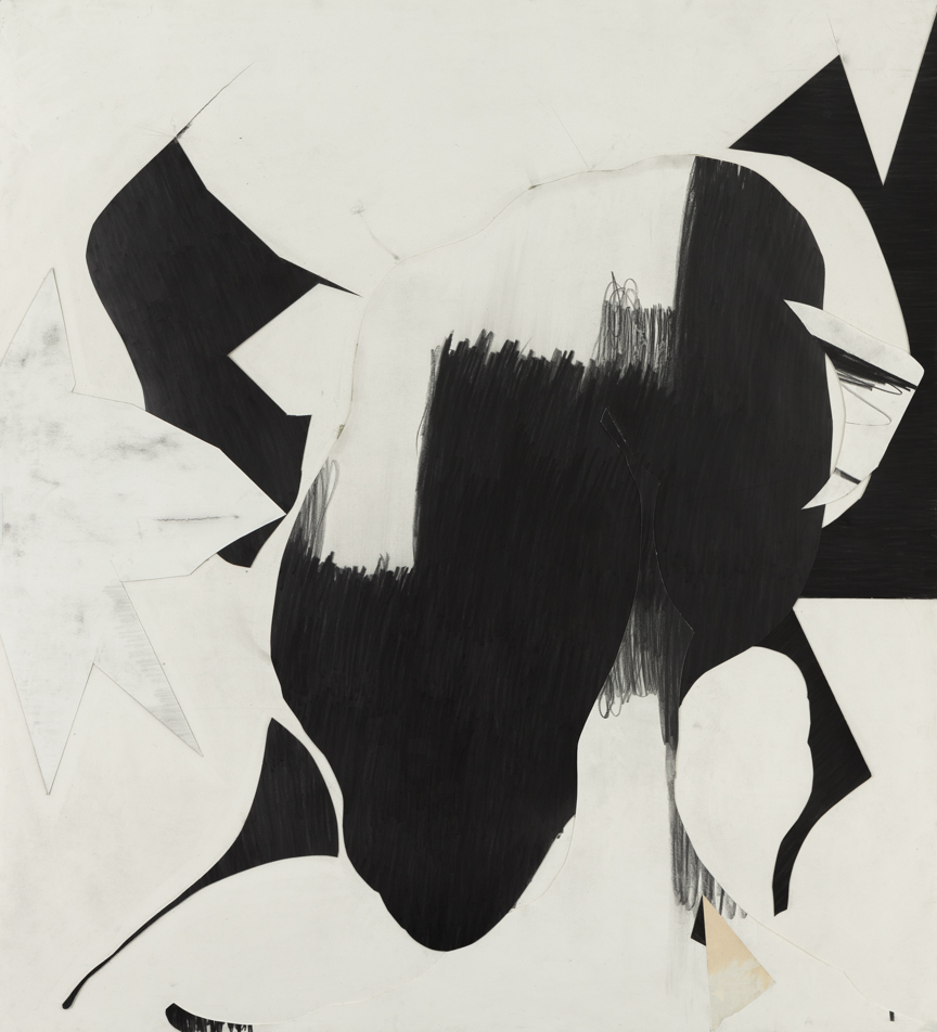 Sticks and Stones # C , 2014, graphite on cut and collaged paper, 51 x 47 inches/ 130 x 120 cm