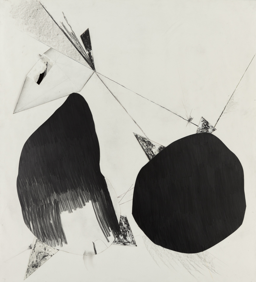 Sticks and Stones # B , 2014, graphite on cut and collaged paper, 51 x 47 inches/ 130 x 120 cm
