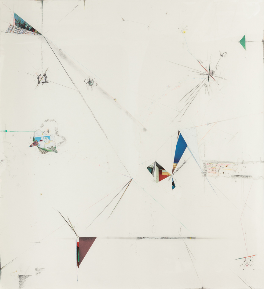 Untitled, 2013, pencil, collage, colored pencil and pastel on paper, 51 x 47 inches/ 130 x 120 cm