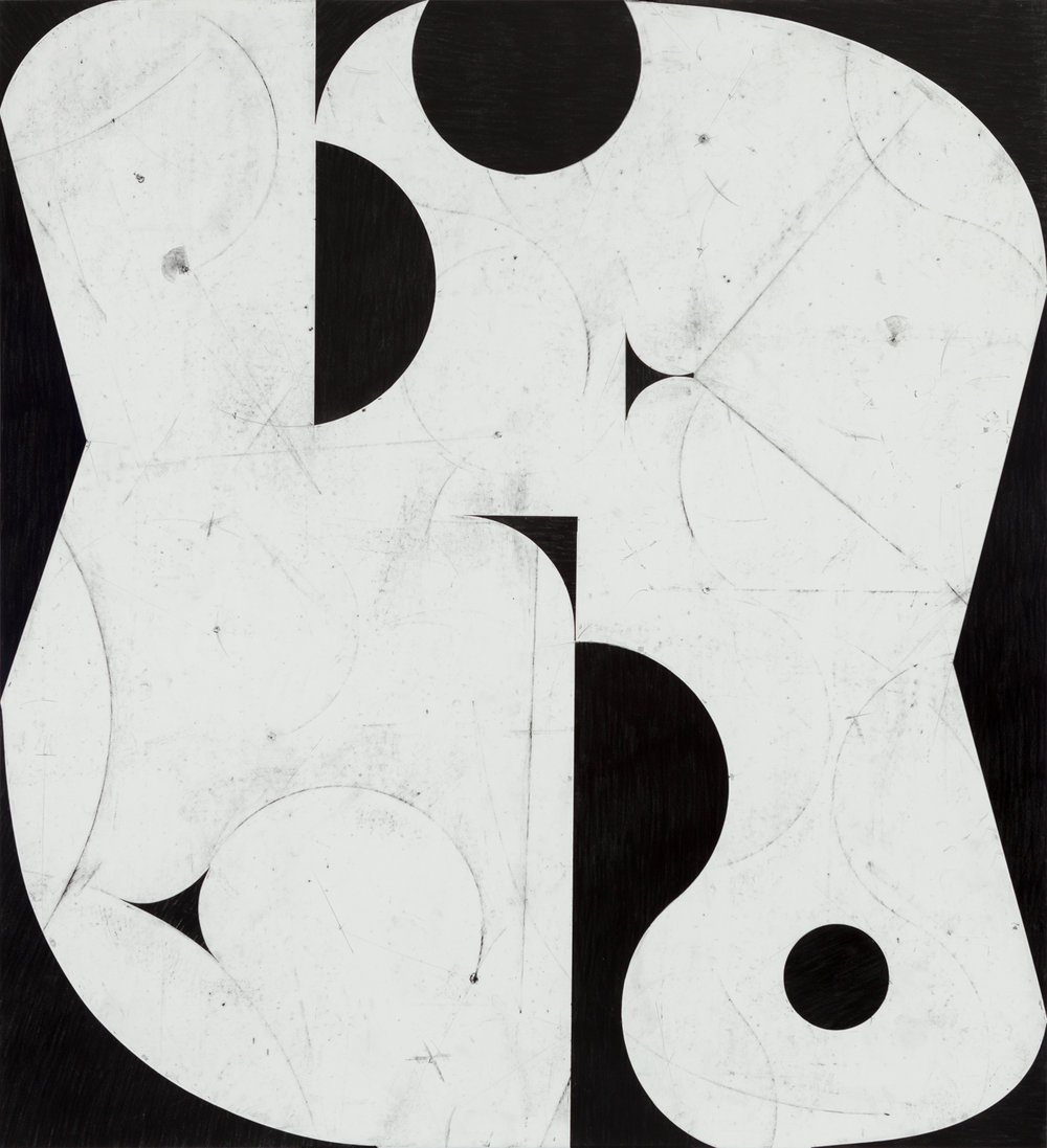 Sticks and Stones # 53, 2017, graphite on cut and collaged paper, 51 x 47 inches, 130 x 120 cm