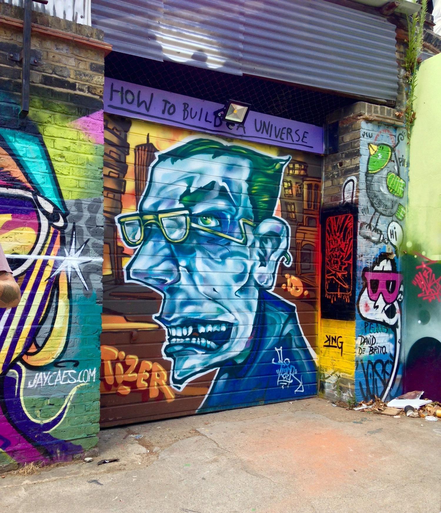 "Photo 3: a piece by Tizer in the ""Star Yard,"" near Brick Lane"