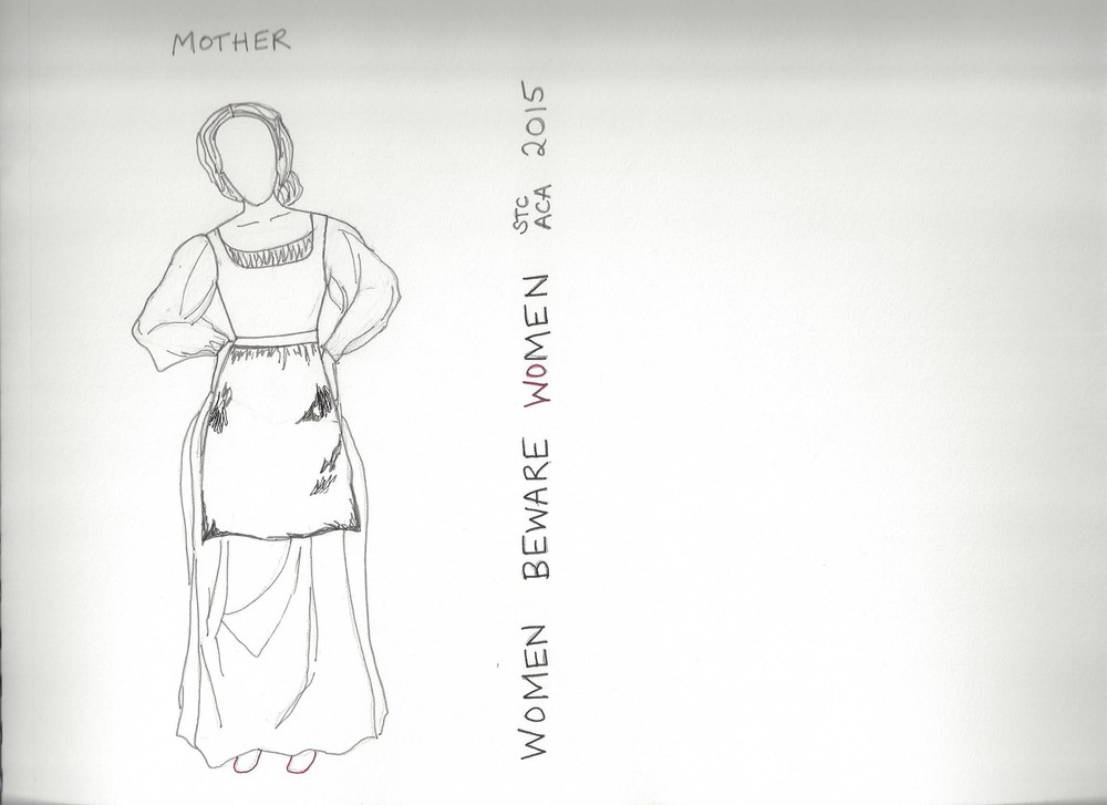 B&W Sketch - Mother    Women Beware Women    Directed by Lisa Wolpe With Eleanor Holdridge The Shakespeare Theatre's Academy for Classical Acting with GWU June 2015