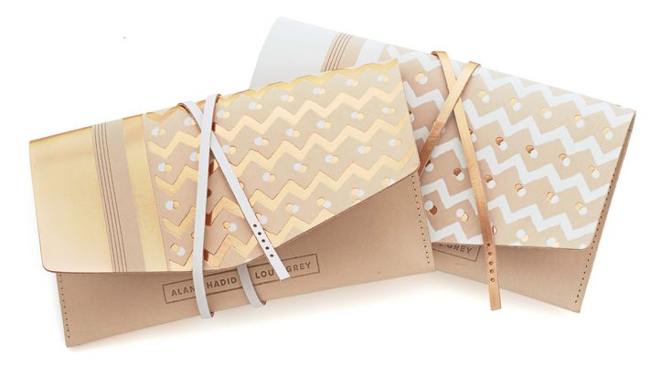Gold foil wrap clutch bag crafted by 5 Points and EB Leatherworks for Alana Hadid x Lou & Grey.