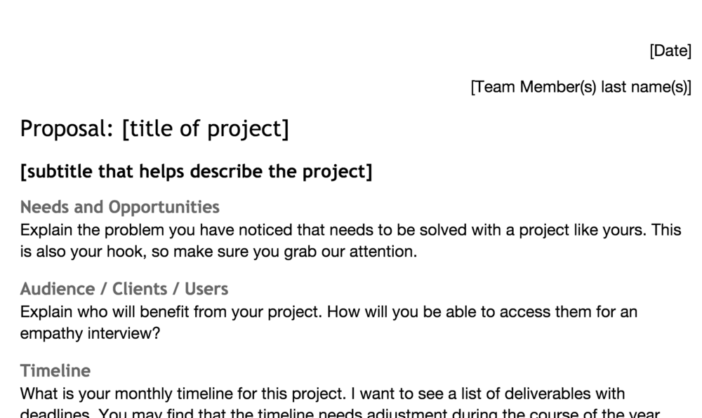 great 20time projects start with a great proposal click below for a google doc template for designing successful proposals click file make a copy to