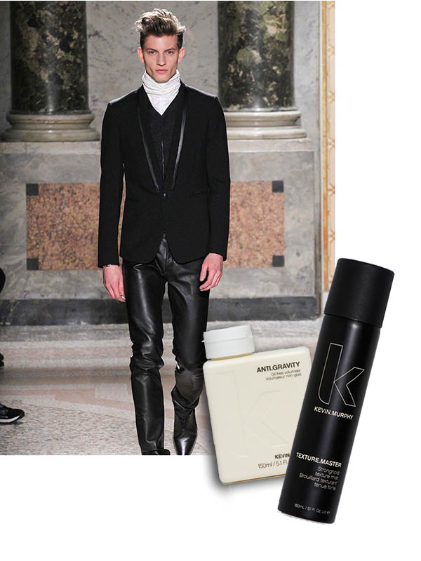 try kevin murphy anti.gravity volumizer on damp hair. let it dry and blow dry/tossle hair upward and finish with hair spray