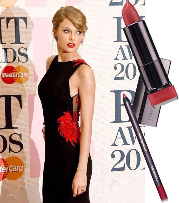 Not shocking to see Taylor in a red lip but if you want the perfect red pout use a lip liner to trace the lip line and then fill in the entire lip. Apply a coat of red lipstick to fill in the gaps and intensify the red. Try Covergirl's Lip Perfection Lipstick in Hot and Covergirl's Lip Perfection Pencil in Passion.