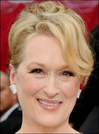 Meryl Streep - the queen of NO mascara on the bottom lashes.