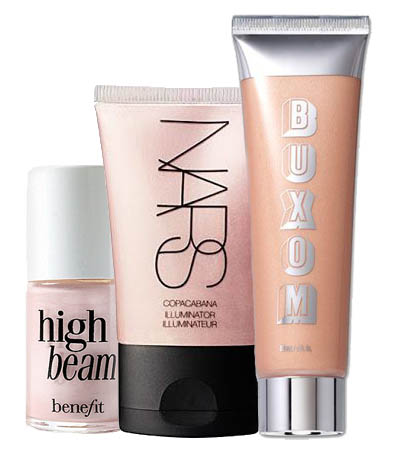 Buxom Divine Goddess Luminizer,   Benefit High Beam ,  Nars Copacabana Illuminator , wedding makeup