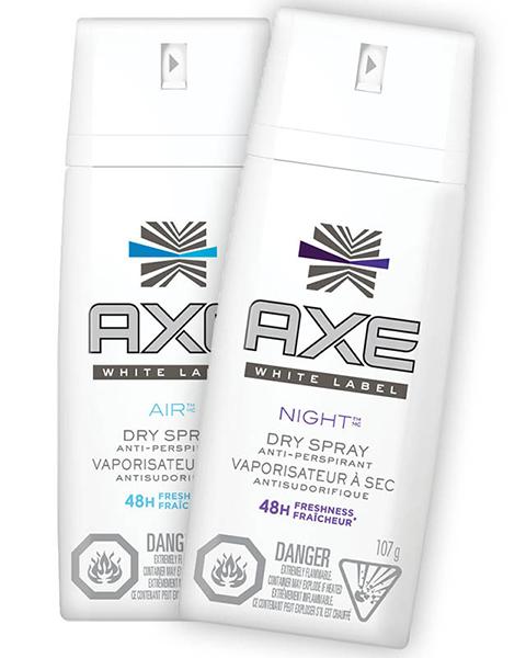 axe white label antiperspirant dry spray titsup
