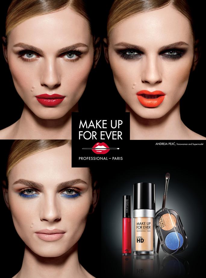makeup forever, andreja pejic, be bold, transgender