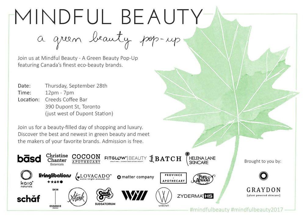 mindful beauty pop up 2017 toronto