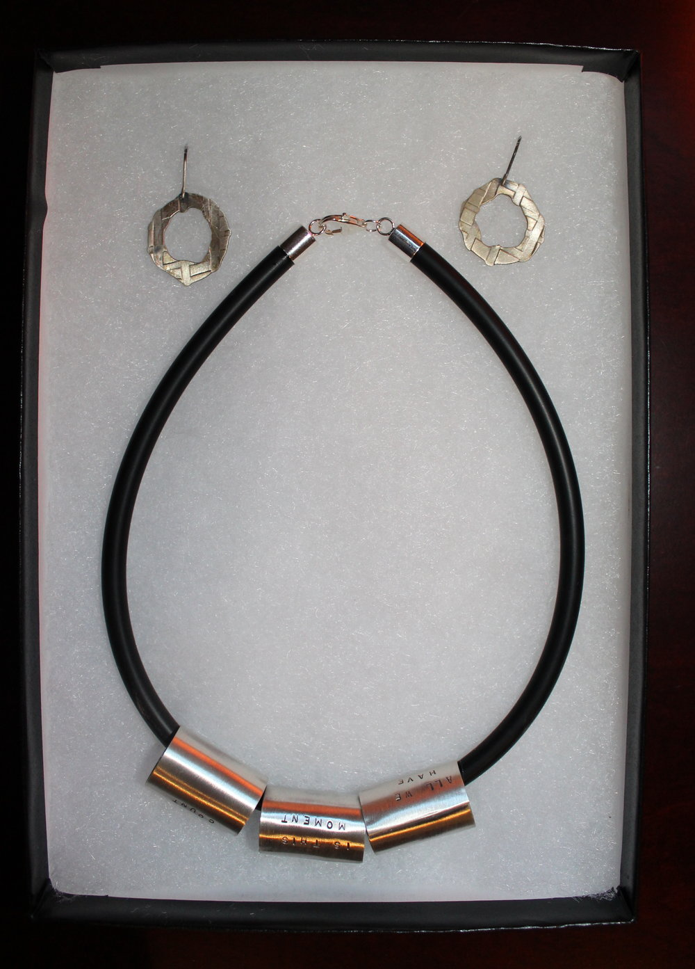 Beth North Designs -Silver Tubing Necklace and Circle Earrings - Value $316