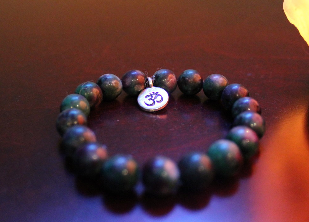 HSR Designs -Ruby and Zoisite Mudra Bracelet with sterling silver plated Om charm - Value $65
