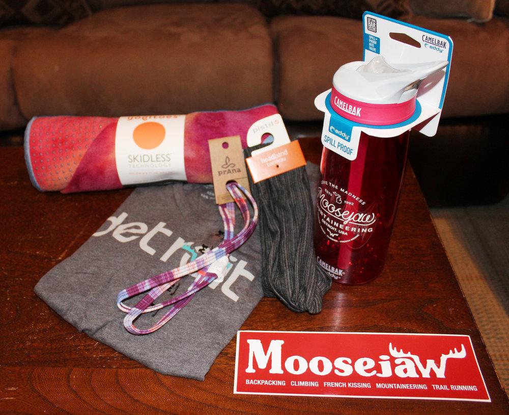 Moosejaw Yogatoes Towel Mat, Headbands, T-Shirt & Water Bottle - Value $135