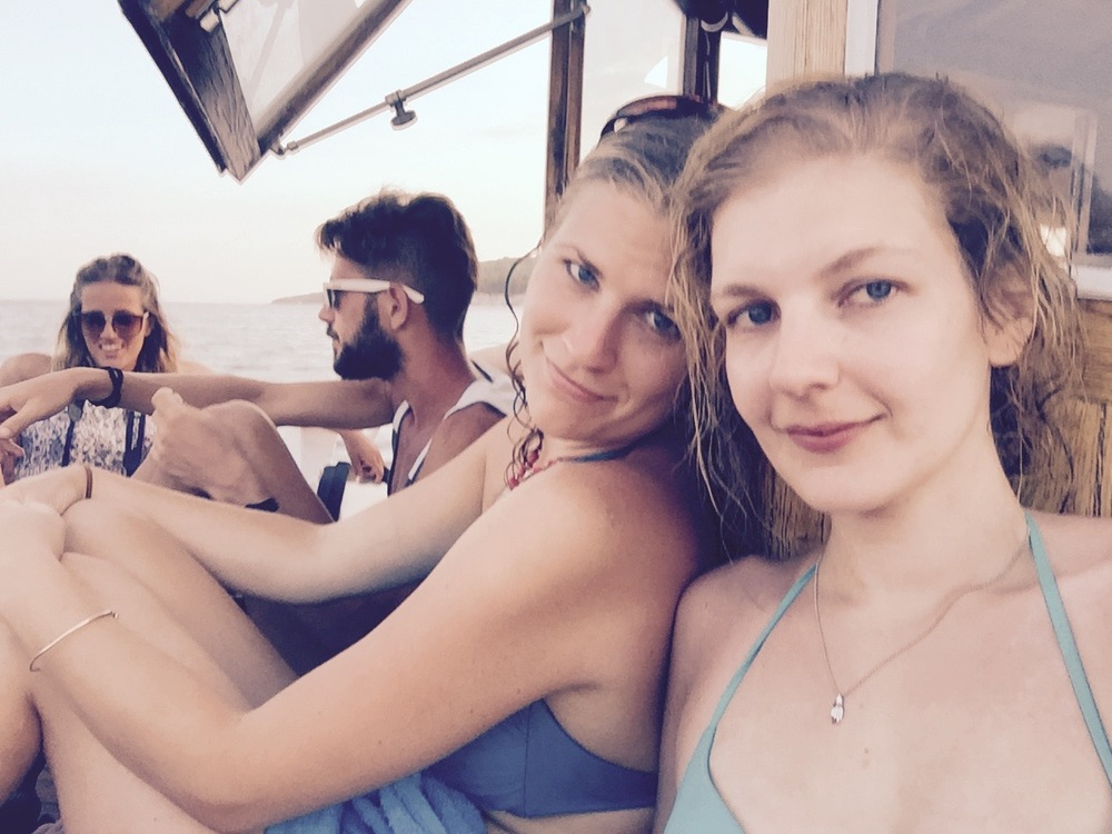 Kate and Tania. Boat selfie