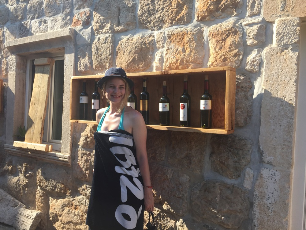 Miss Lena posing for some Croatian wine goodness