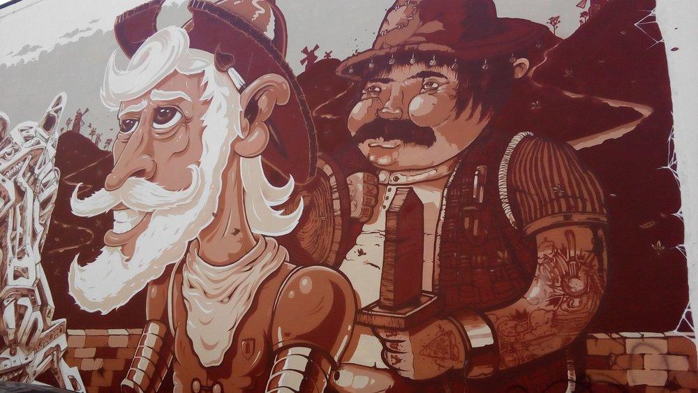 Some sort of folky, Portuguese conquistador, explorer (Ferdinand Magellan?)mural