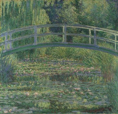 My first painting, I ever admired when I was a little kid. Claude Monet's water lily bridge