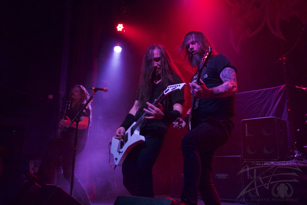 Exodus' Bassist Jack Gibson, guitarist Lee Altus, guitarist Gary Holt    photo: David Burke