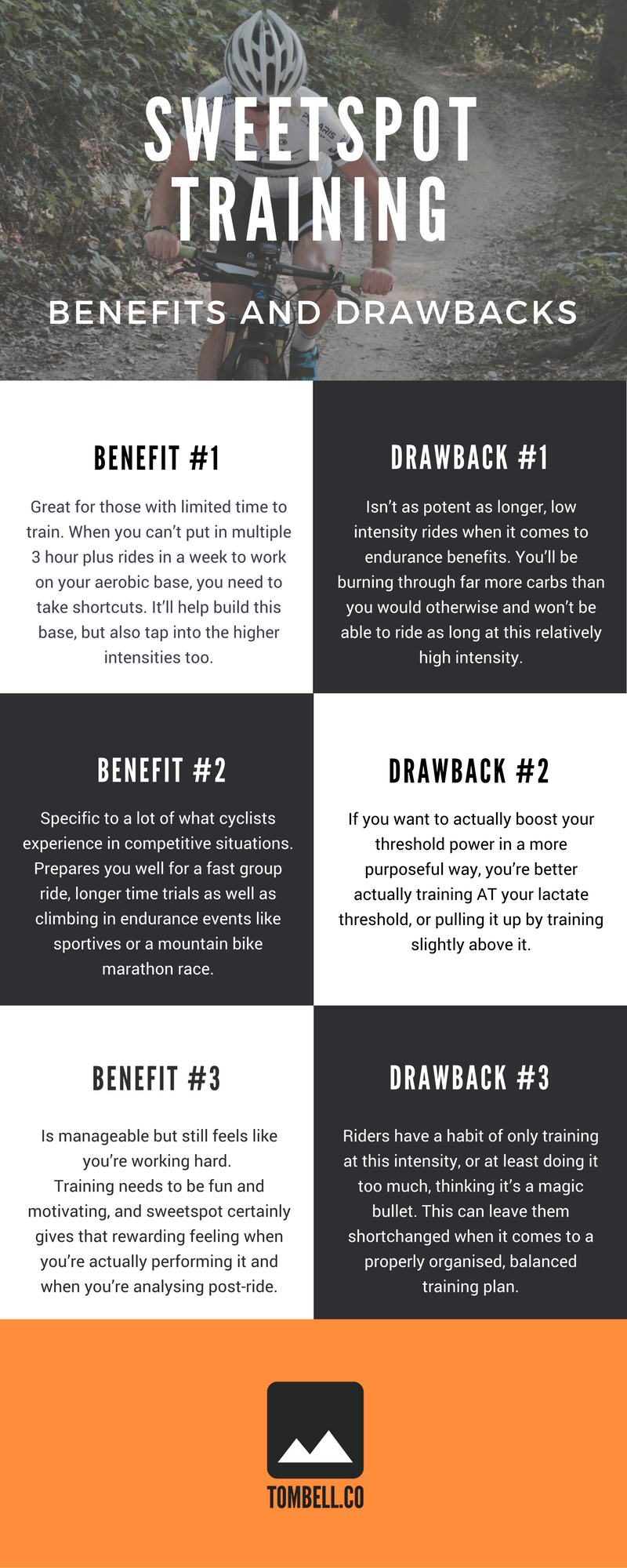 Sweetspot training for cycling: Pros and Cons. Infographic by http://www.tombell.co