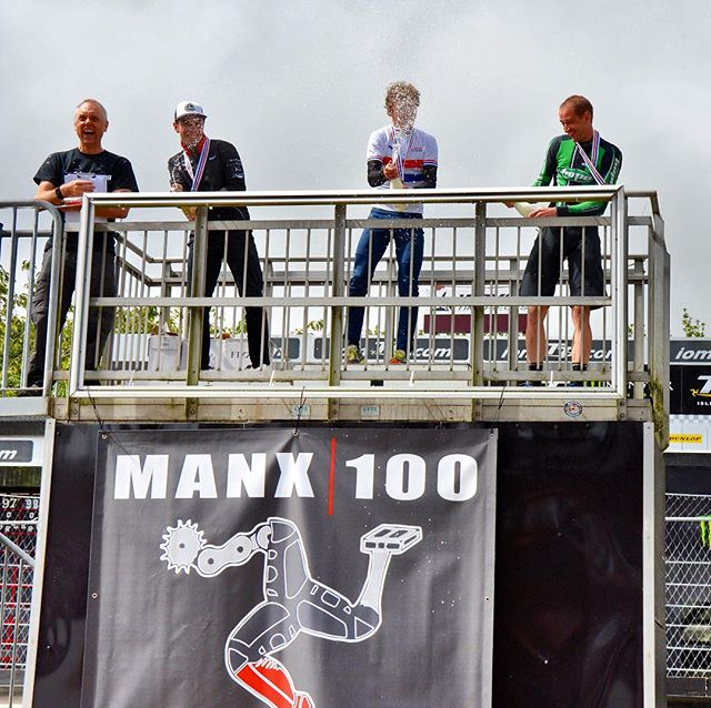 Myself, @benthomas88 and @poldham77 spraying champagne on top of the famous @iomttofficial podium. @manx100mtb put on a great course at the British MTB XCM National Championships and it was great to leave with the national jersey on my first visit to the island. Thanks to Nigel the organiser and his team of helpers and marshals. #mtb #mountainbike #mountainbiking #mountainbikelife #isleofman #mtbmarathon #xcmtb #crosscountrymtb #cycling #cyclingpics #cyclingshots #britishcycling @wolf_tooth_comp @esigrips @torqfitness @contityres @polarisbikewear @marathonmtb