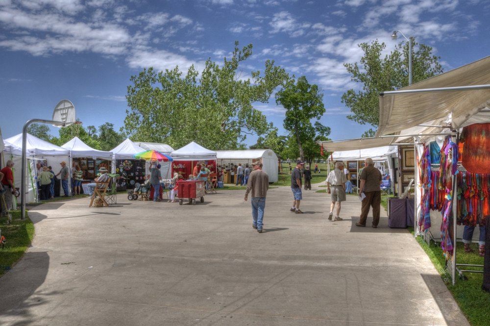 Art vendors at the May Fair.