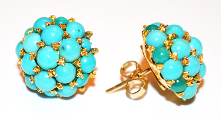 5f5e5ad63c3de Antique Victorian Pave Persian Turquoise Earrings in Gold — Antique ...