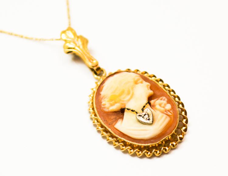 Vintage 10 karat yellow gold emesco shell cameo pendant antique emesco cameo pendant 1g aloadofball Choice Image