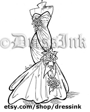 DressInk by AmSS      Fashion sketches for brides, bridesmaids, and everyone who loves a good gown!  For the fashionista who wants art with a little more flare! Instead of a classic mannequin, your basic sketch starts with a fully posed model.     https://www.etsy.com/shop/DressInk