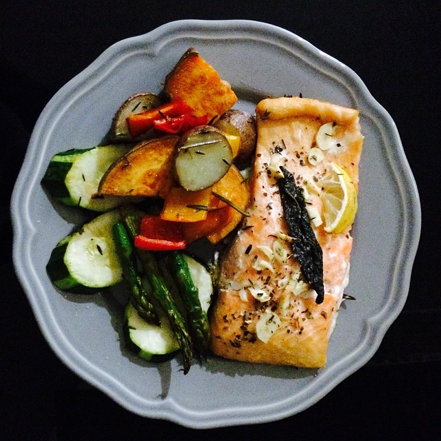 Easy #healthy #dinner … Roasted  salmon & veggies (at East River)