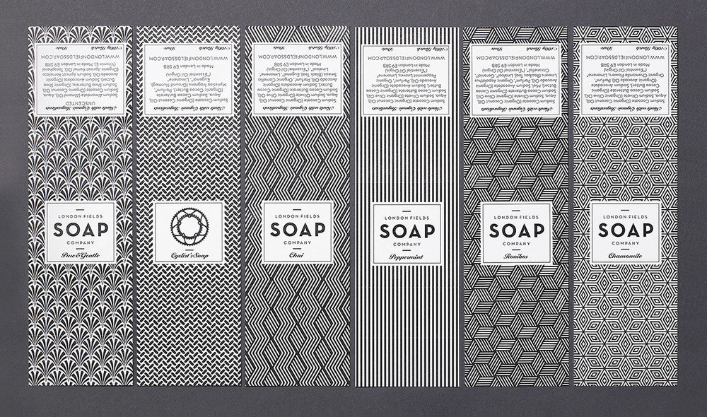 Striking Art Deco-inspired black and white patterns adorn the labels of London Field Soap Company!