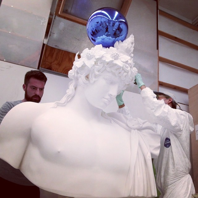 """whitneymuseum: """"The reason I enjoy reflective surfaces is that they always tell the viewer that they're important, and that nothing is happening without them."""" —Jeff Koons Hear more from Koons and see behind-the-scenes footage of his studio on Whitney Stories."""