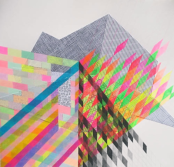 Nikki Painter -10 (Verge), 2009, mixed media & collage on paper, 7 x 7 in