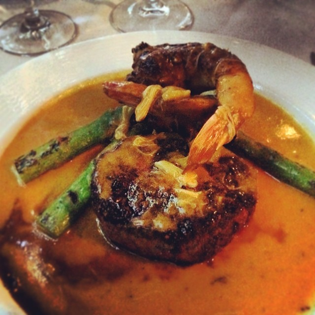 Filet mignon with shrimp & asparagus #steak #nyc #foodie  (at Valbella)