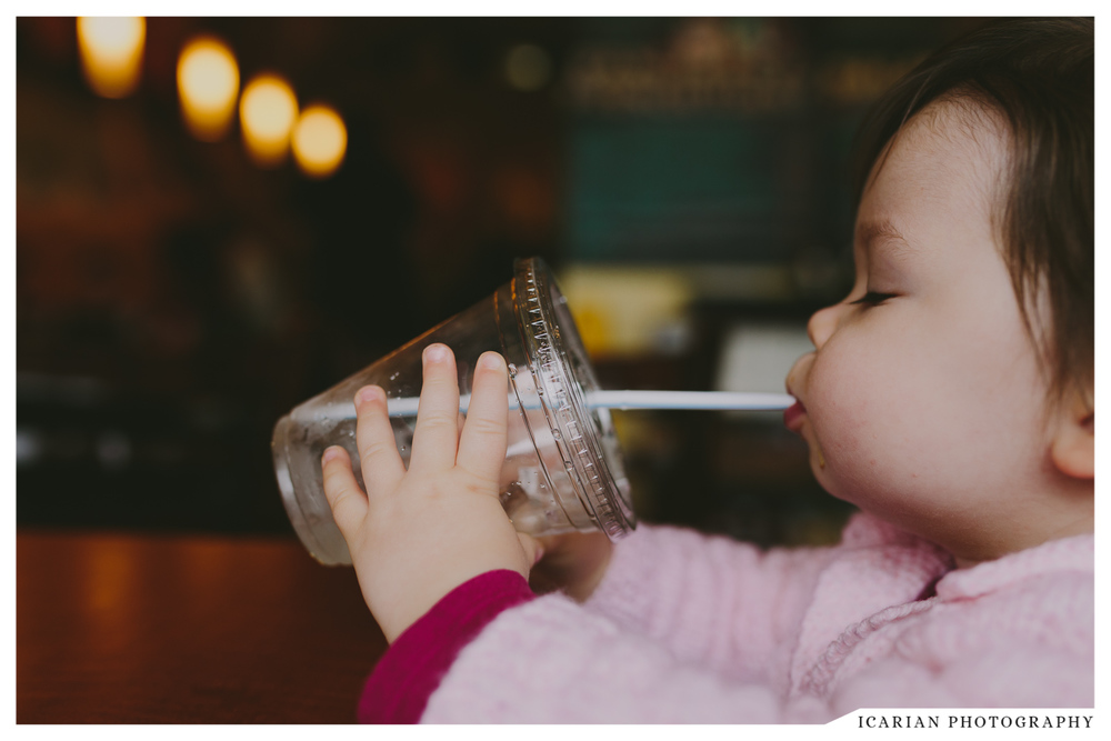 Vee, you've been SUPER into drinking your water out of a straw lately. You have a new technique where you bite down on the straw then purse your lips in and out while drinking.