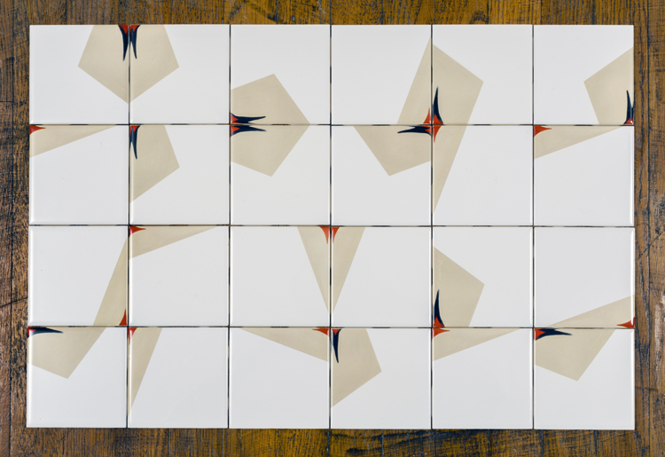 "Eclectic M Hashed Tiles , 2013  custom printed ceramic tiles  17 1⁄4"" x 25 3⁄4"" x 1⁄4"" / 44 cm x 65.3 cm x 1 cm"