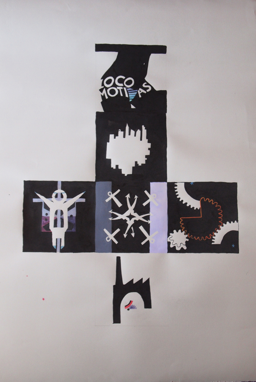 "Die Template - Inverted / Negative (Set II of Proletarian Logos) , 2010   ink and gouache on paper  46"" x 31"" / 117 cm x 79 cm"