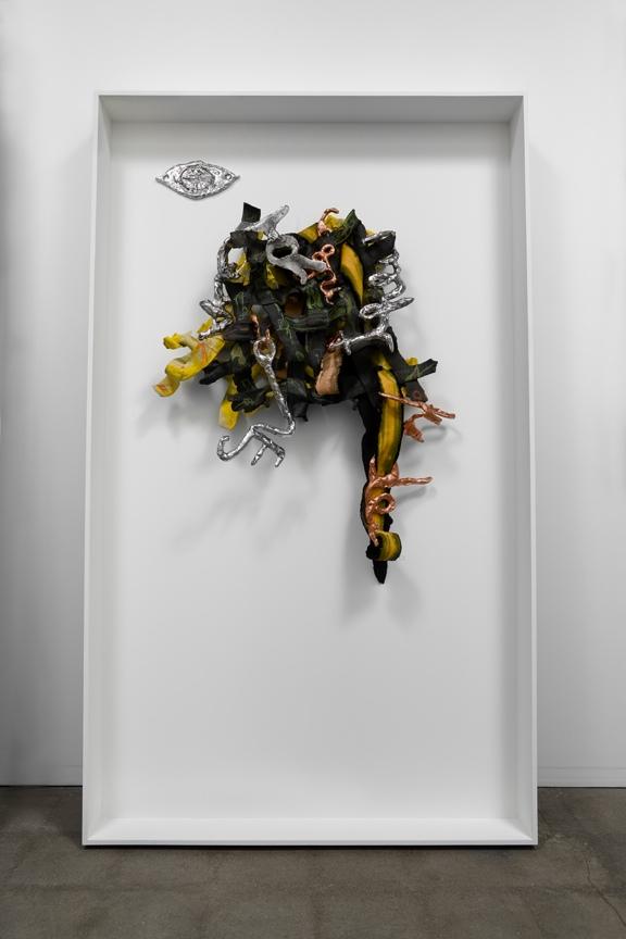 """Blooming Bodies at Every Intersection, 2008  magic-sculpt, cast aluminum, plastic, velvet, paint, penciland spray-paint,  73.5 """"x 43"""" x 6"""" /186.7 x 109.2 x 15.2 cm"""