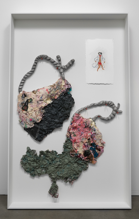 Study of Herod - Villains Grant Promises Too  , 2008     fabric, paint, latex, glass, aluminum, pencil on paper    79 x 49 x 6 inches (200.7 x 124.5 x 15.2 cm)