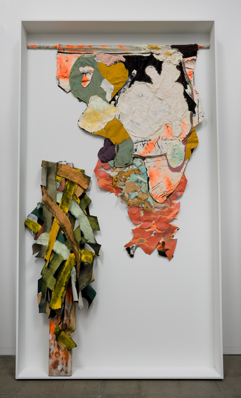 Intercalations - Nine Miles East of the Dead Sea  , 2008    latex, wool, velvet, silk, vinyl, wood, paint, spray-paint, clear epoxy resin, ink, copper    85 x 49 x 6 inches (215.9 x 124.5 x 15.2 cm)