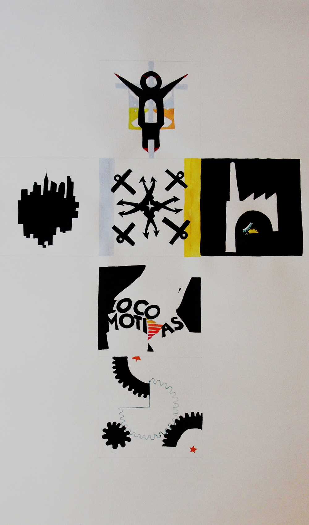 "Die Template - Upright Positive (Set II of Proletarian Logos) , 2010   ink and gouache on paper  46"" x 31"" / 117 cm x 79 cm"