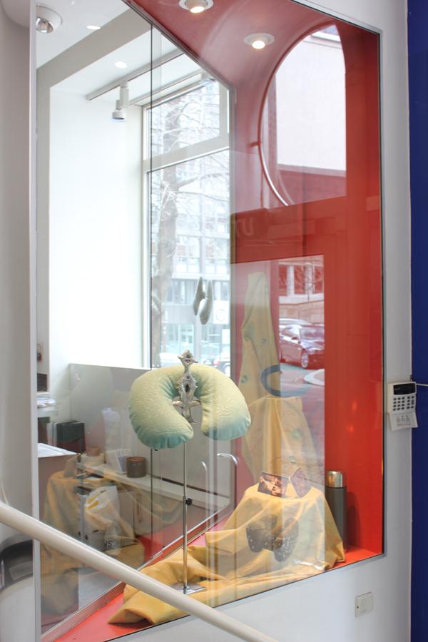 Marte Eknæs,Deflecto display with Eknæs Alphabet fabric and ØÅVT with Pillow by Nicolau Vergueiro  , 2013    Kunstnerforbundet, Oslo, Norway
