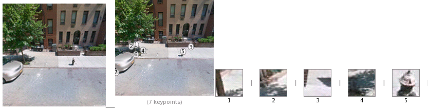 Wolfram Alpha's keypoint detection feature managed to identify a fire hydrant in this Street view picture- http://reference.wolfram.com/language/ref/ImageKeypoints.html