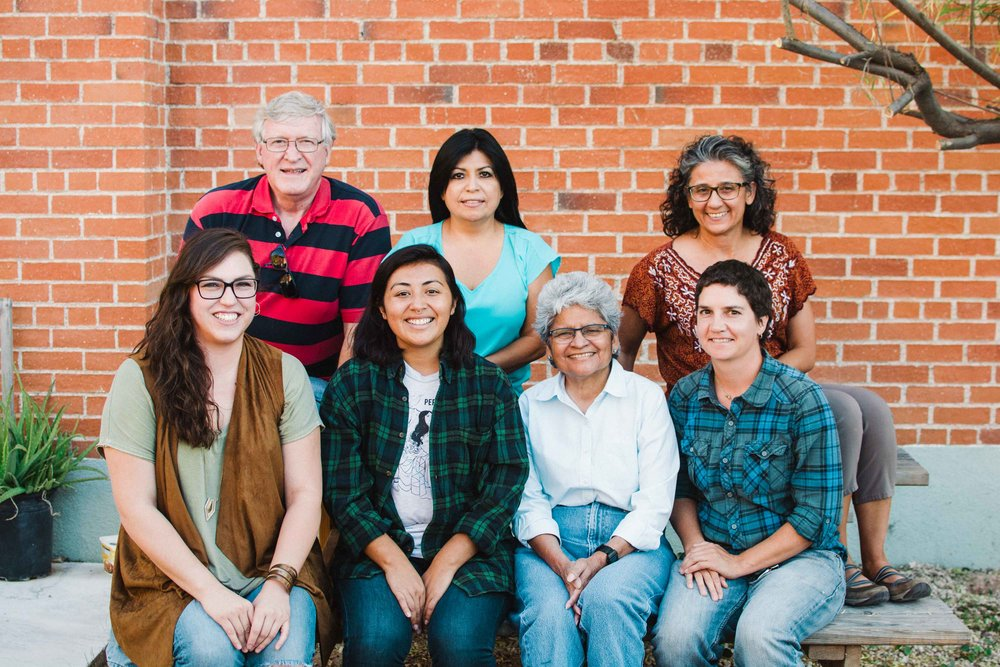 The current BorderLinks board. Back row, left to right: Dave Coatsworth, Liz Rabago and Cecelia Aguilar-Ortiz. Front, left to right: me, Cathie Pacheco (our delegation leader), Josefina Ahumada, and Mali Lorenz, Boderlinks' administrative coordinator.