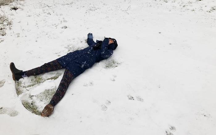 Snowpocalypse is prime snow angel time!