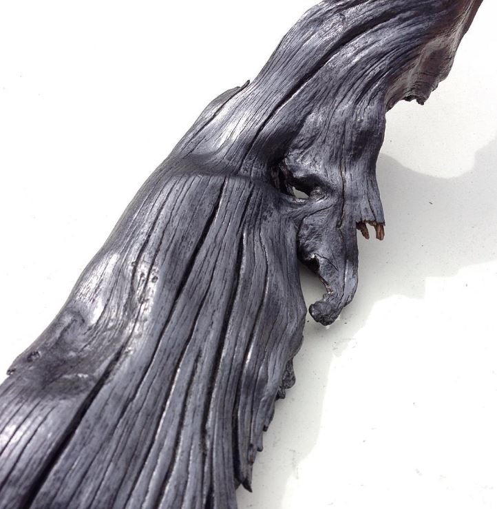 Detail of new graphite and wood sculpture.