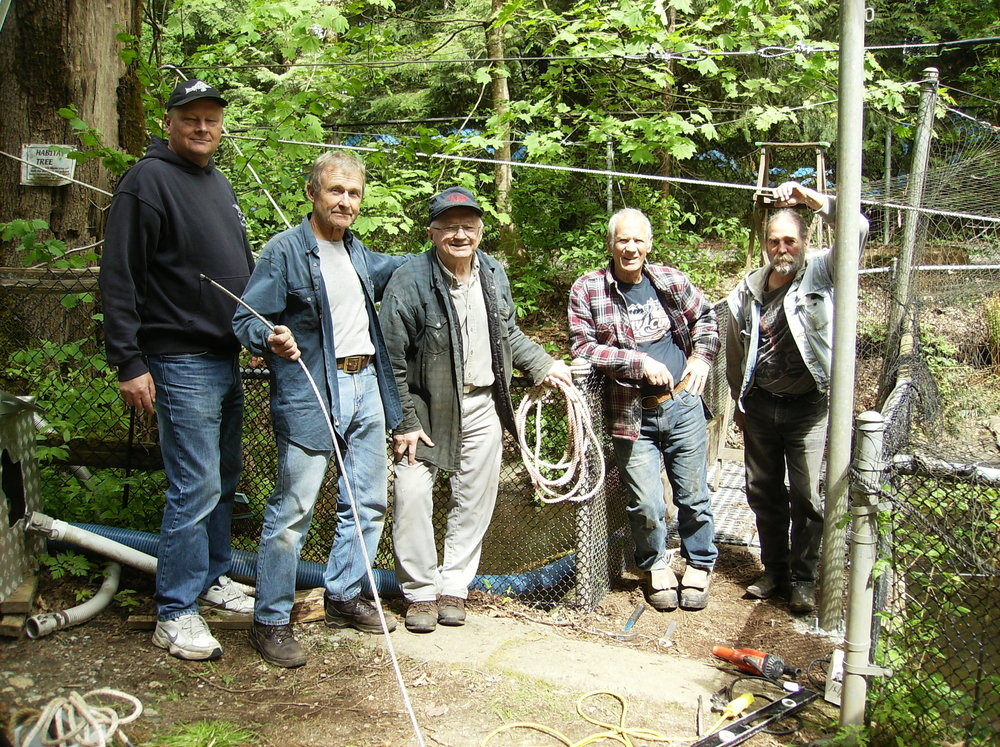 City of Coquitlam Grant - May 11 2017Thank you to the City of Coquitlam for their generous funding to allow us to purchase predator netting and cabling, pond aerator, pond recirculation pump, cyclone filter, 1hp chiller, uv sterilizer and canopy for outdoor class.The project is underway and members are currently replacing cables.  (Left) Mitch, Shane, Gert, Cameron and Andy