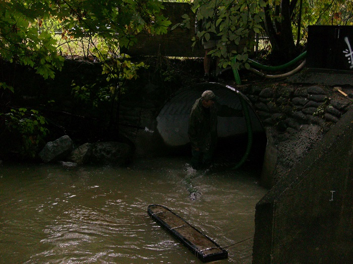 Creek Pump Installation - Sept 15Creek pump installed on Saturday by Shane, Terry and Helen. Heavy rains and possible land disturbance added extra turbidity to the creek. Fortunately this cleared by mid afternoon.