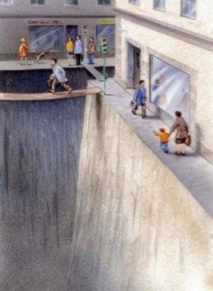 This image by Karl Jilg and commissioned by the Swedish Road Administration illustrates how thinking of the street as lanes for transportation only has damaged the pedestrian experience on the street.